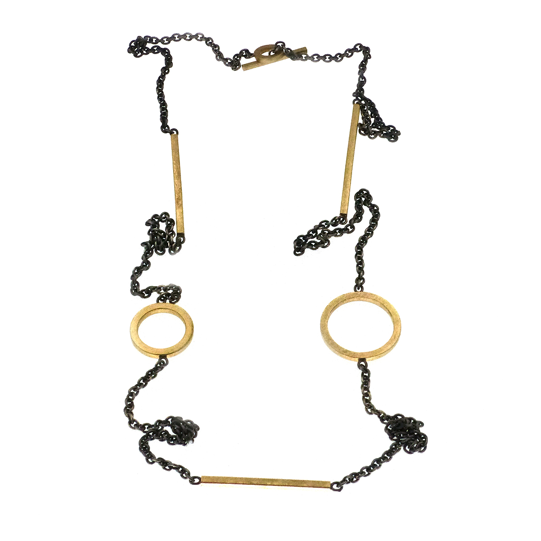 Necklace with circles and bars