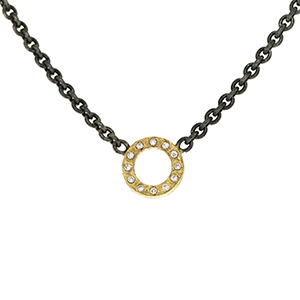 Necklace with open circle and diamonds