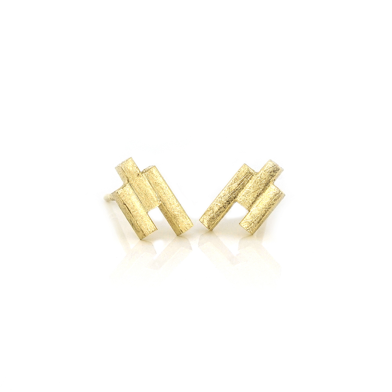 Gold bar studs - 3 bars