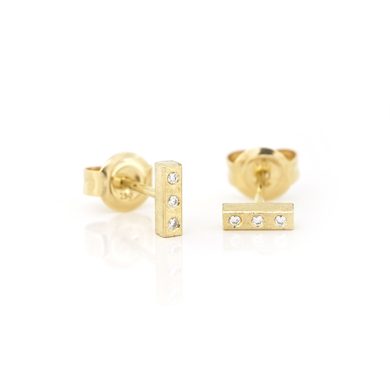 Gold bar studs with diamonds