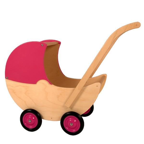 Houten Poppenwagen met vaste kap