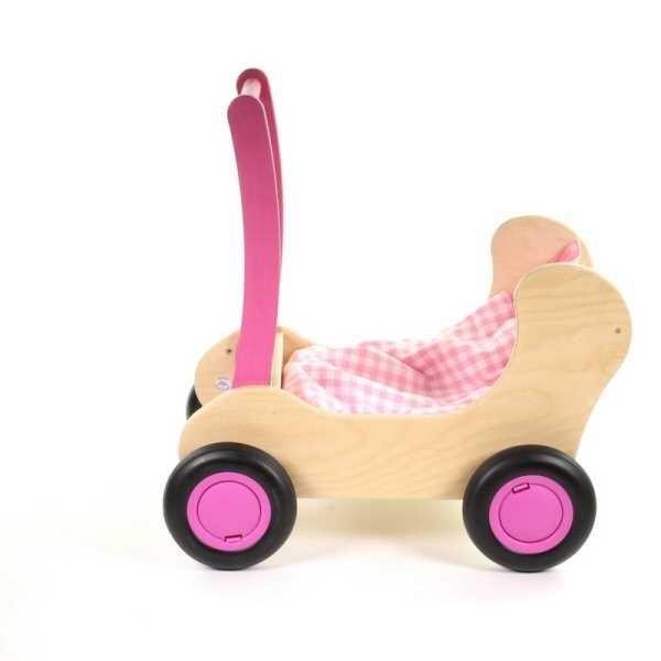 Houten Combi Poppenwagen Roze