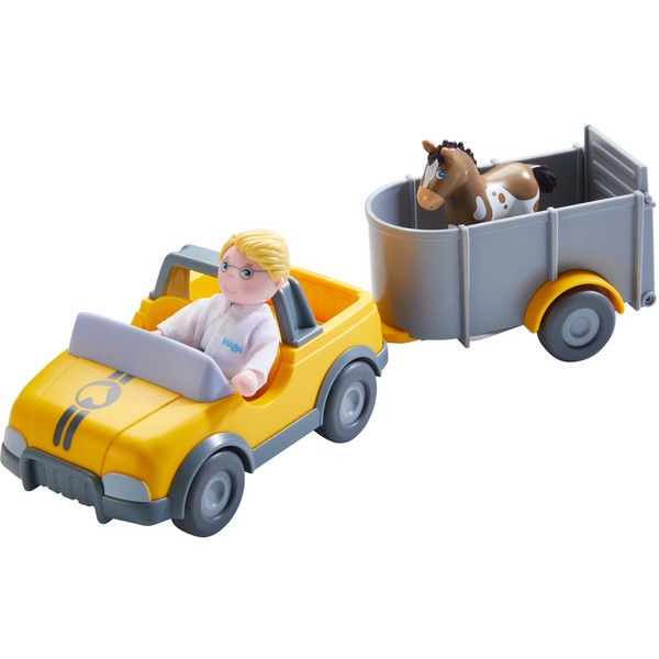 Little Friends Poppenhuis Voertuig Diernartsauto met Aanhangwagen