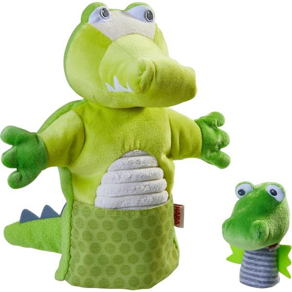 Handpop Krokodil met Baby