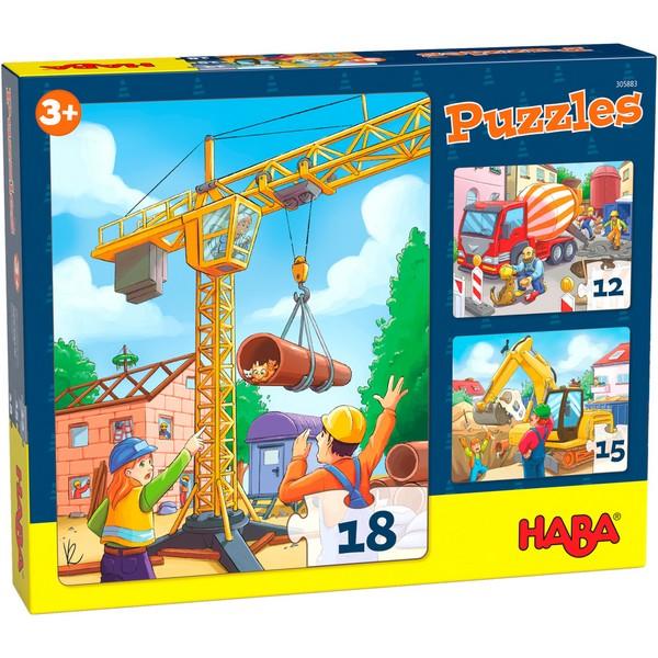 3-in-1-Puzzel Bouwvoertuigen